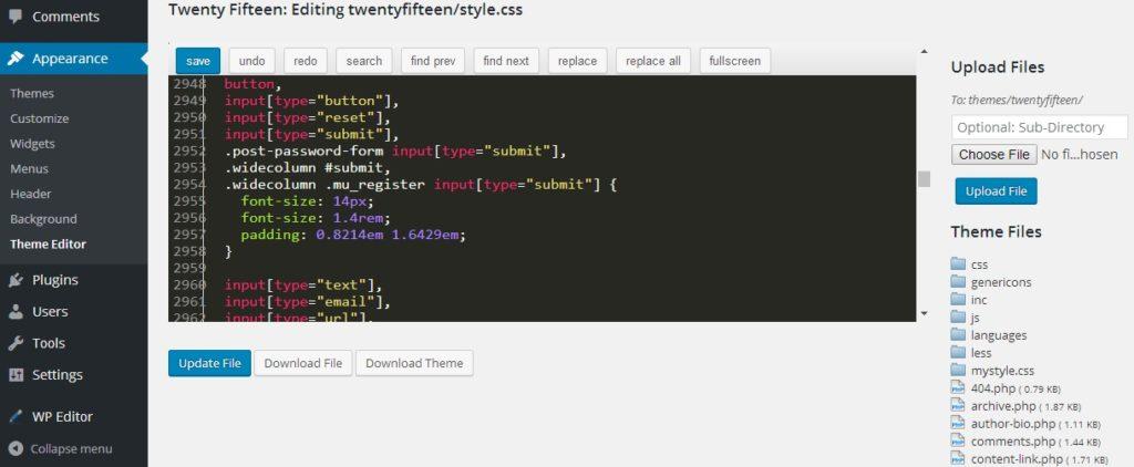 wp-editor demo within the WordPress Theme Editor