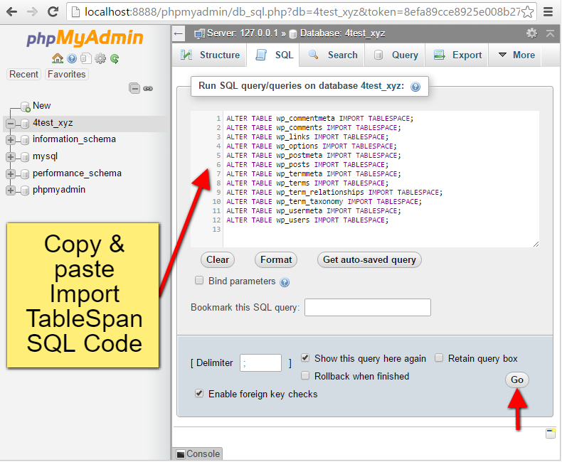 Step11 PhpMyAdmin Import TableSpan SQL