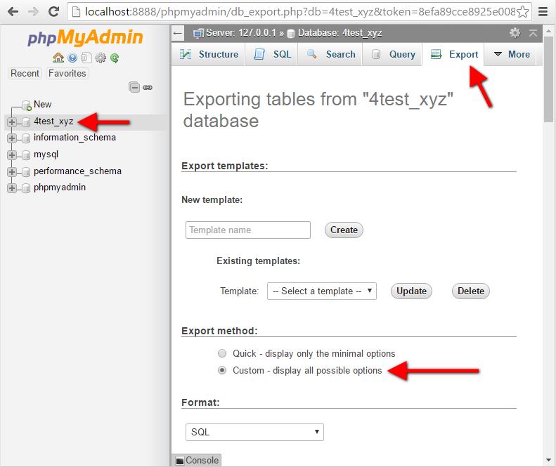 Step12 PhpMyAdmin Database Export