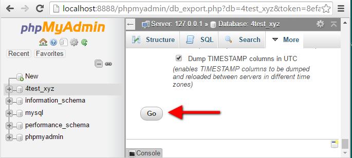 Step12 PhpMyAdmin Database Export Go Button