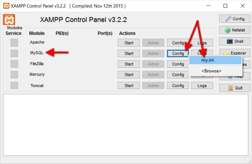 Step3.1 XAMPP MySQL Config File