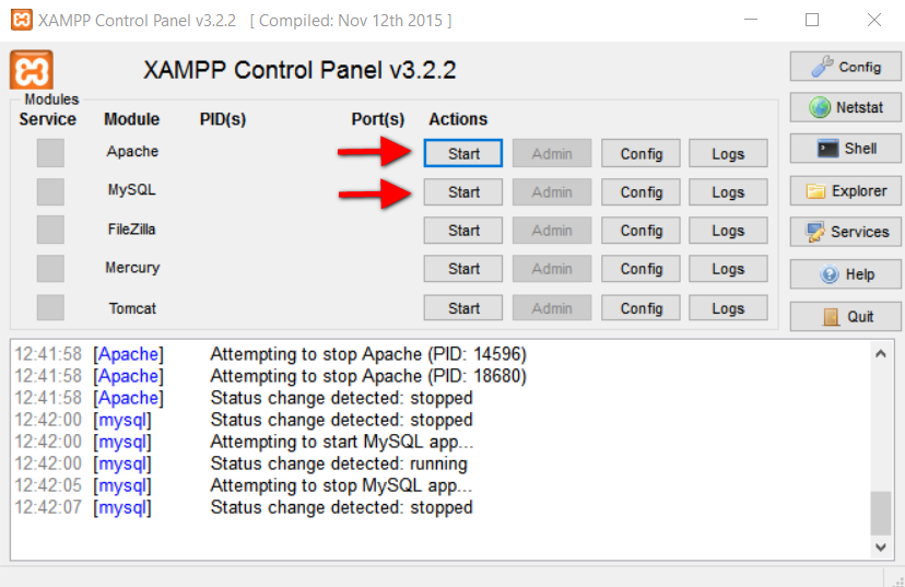 Step3.3 XAMPP Apache MySQL Start Buttons