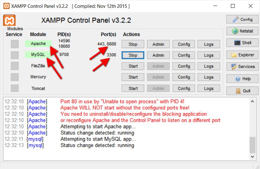 Step3.3 XAMPP Apache MySQL Running Status