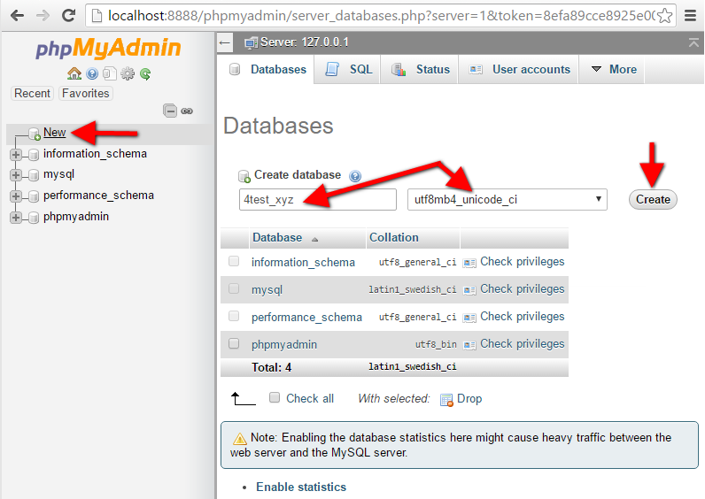 Step8 PhpMyAdmin Create New Database Form