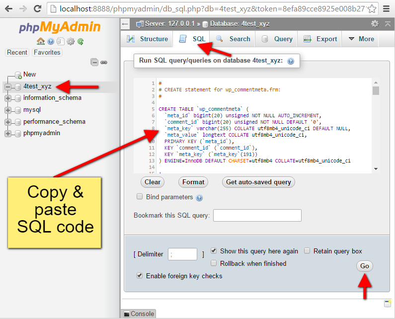 Step9 PhpMyAdmin Execute Tabels Structure SQL